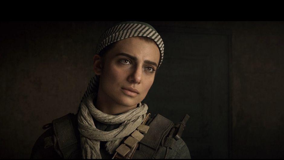 screenshot from modern warfare showing female character farah