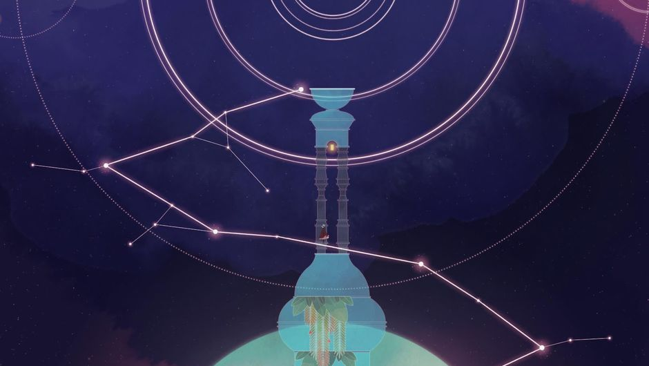A tower with point based lines of light, from Gris video game