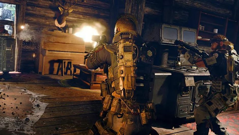 call of duty black ops 4 screenshot showing two characters shooting