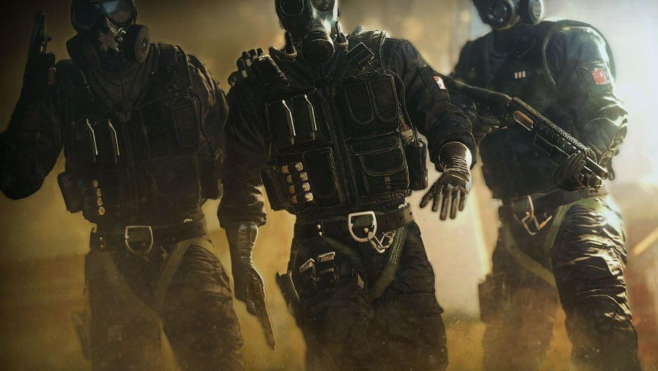 Rainbow Six Siege promotional poster showing three SAS operators - Mute, Thatcher and Smoke.