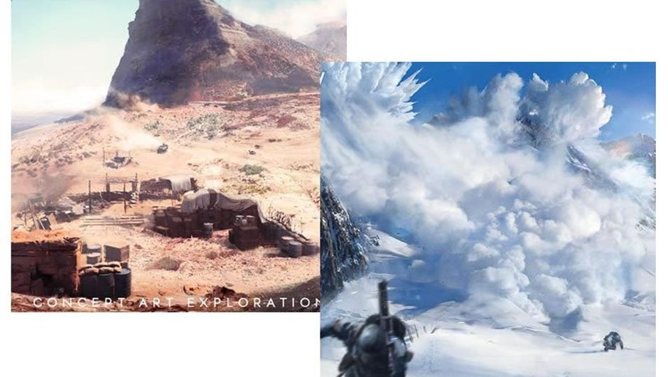 Snow and desert concept art for EA and DICE's game Battlefield V