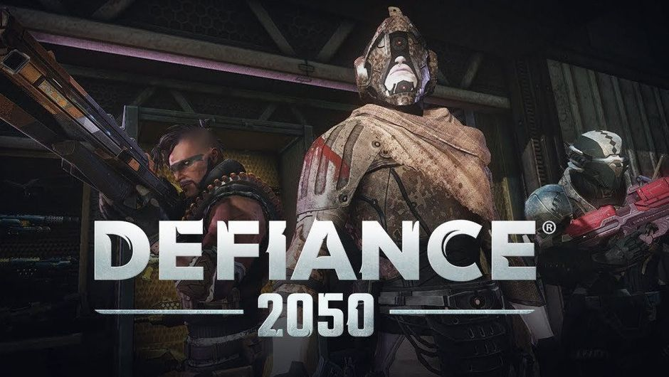 Three people standing behind some letters and numbers that spell out ''Defiance 2050''