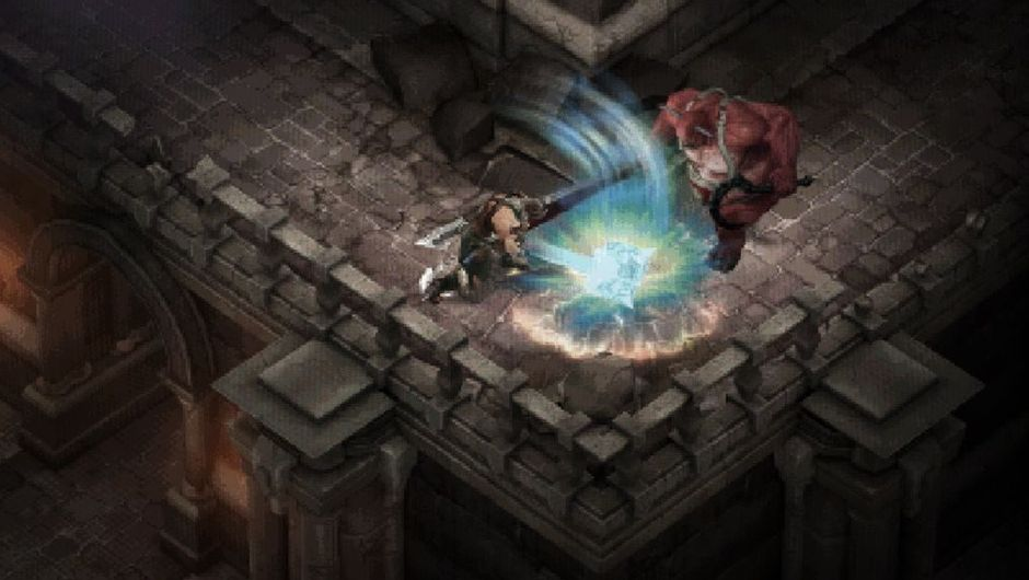 Two Diablo 3 characters fighting