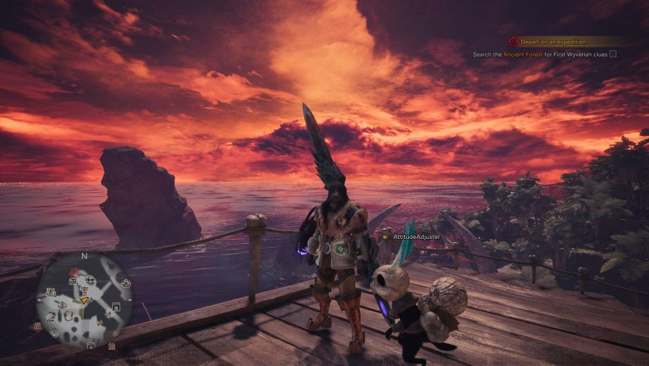 Monster Hunter World playerscreenshot on pier with panda companion