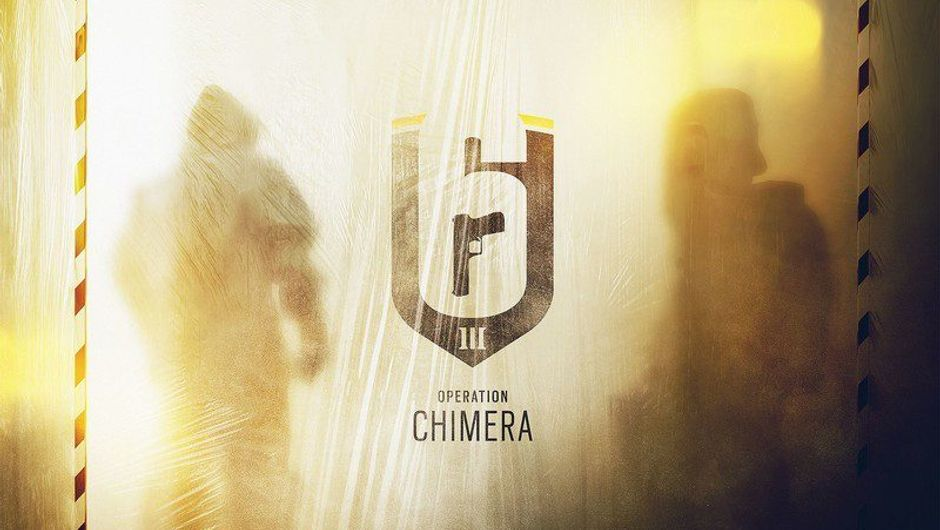 Promotional poster for Rainbow Six Siege Operation Chimera on a yellow palette.