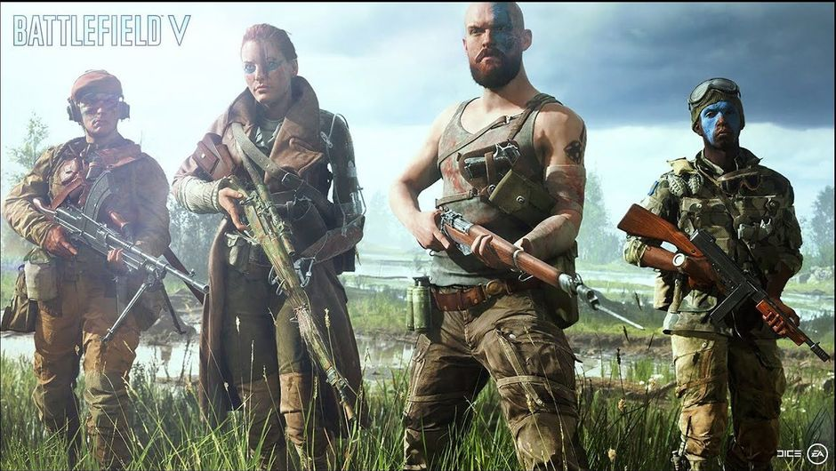 Screenshot of colourful but weird characters from Battlefield V
