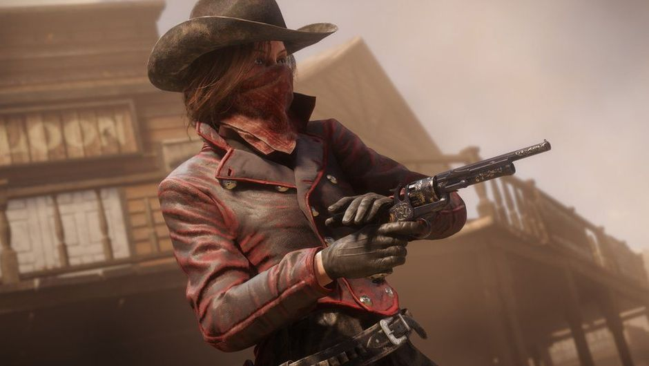 red dead online screenshot showing female in bandana and red outfit, shooting a gun