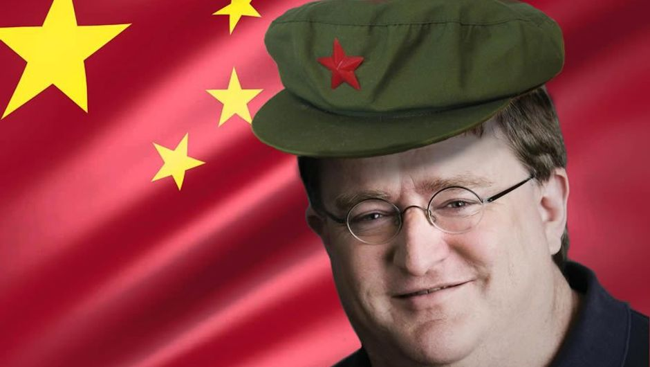 Gabe Newell in front of the Chinese flag