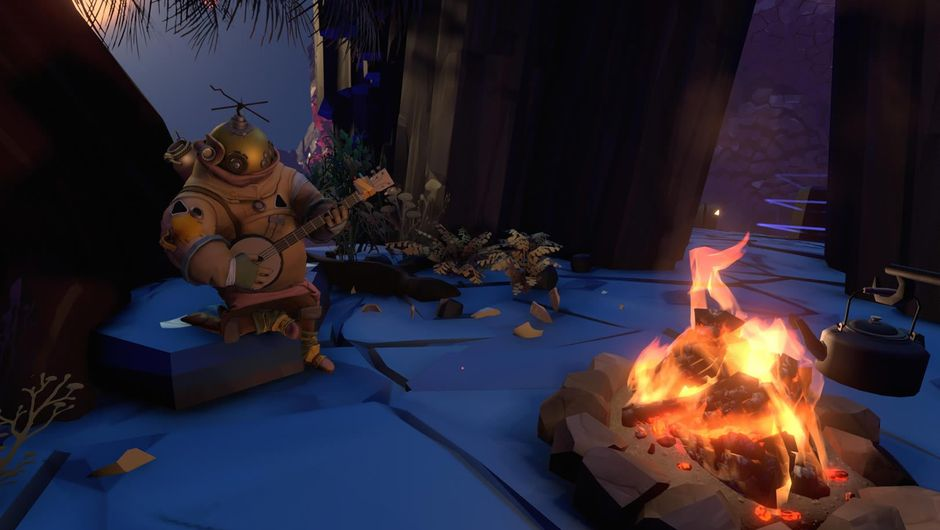 Strange creatures dancing around a fire in Outer Wilds