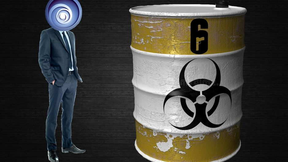 Corporate guy with Ubisoft logo for a head looks at his barrel of toxic waste with Rainbow Six Siege logo on it.