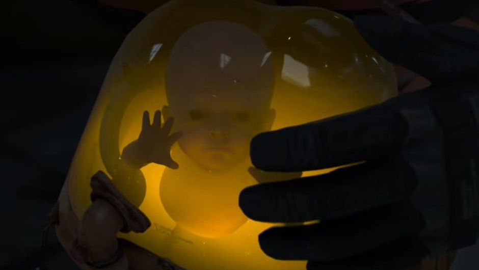 A baby in a glass container from Kojima's game Death Stranding