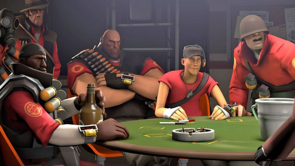 Team Fortress 2 characters sitting around a poker table
