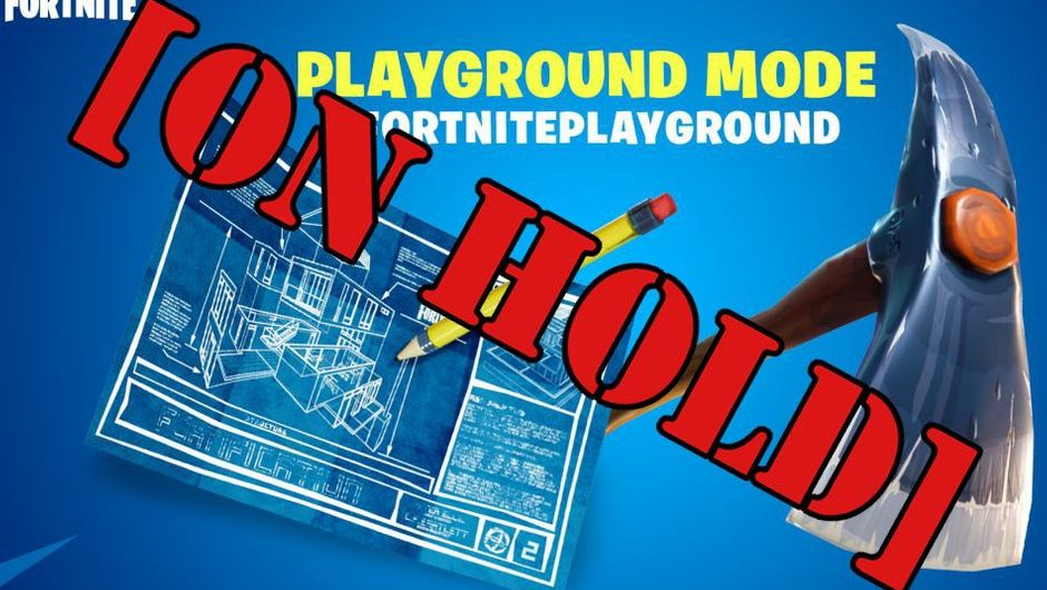 "Picture of Playground mode announcement with stencil letters on top of it reading ""On Hold"""