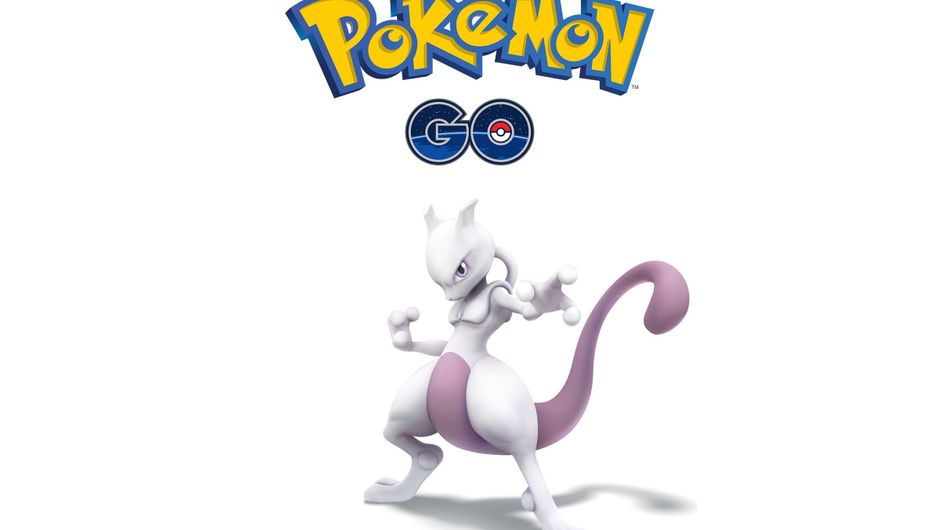 Mewtwo posing under a Pokemon GO logo