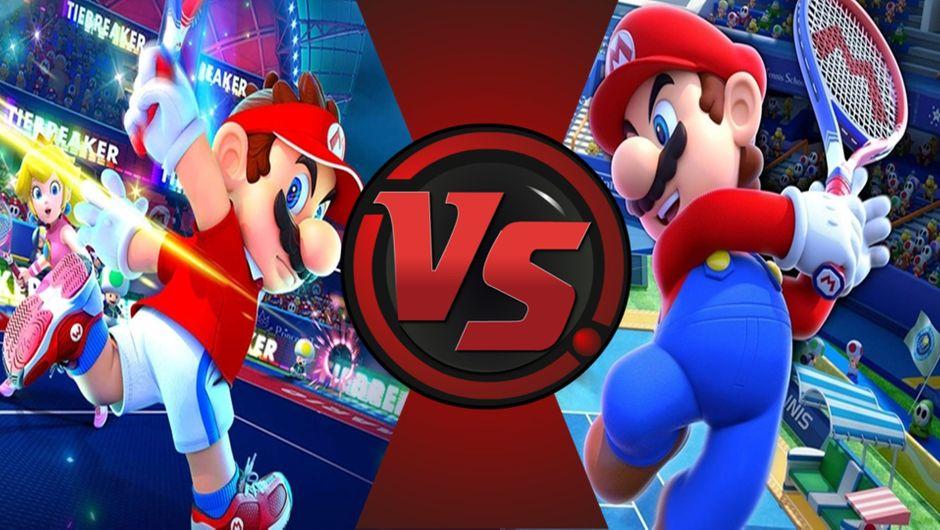 Super Mario hitting the tennis ball in Mario Tennis Aces and Mario Tennis: Ultra Smash.