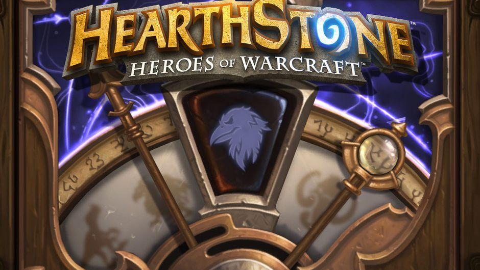 A shield shaped wheel with a raven sign in the middle under a Hearthstone logo