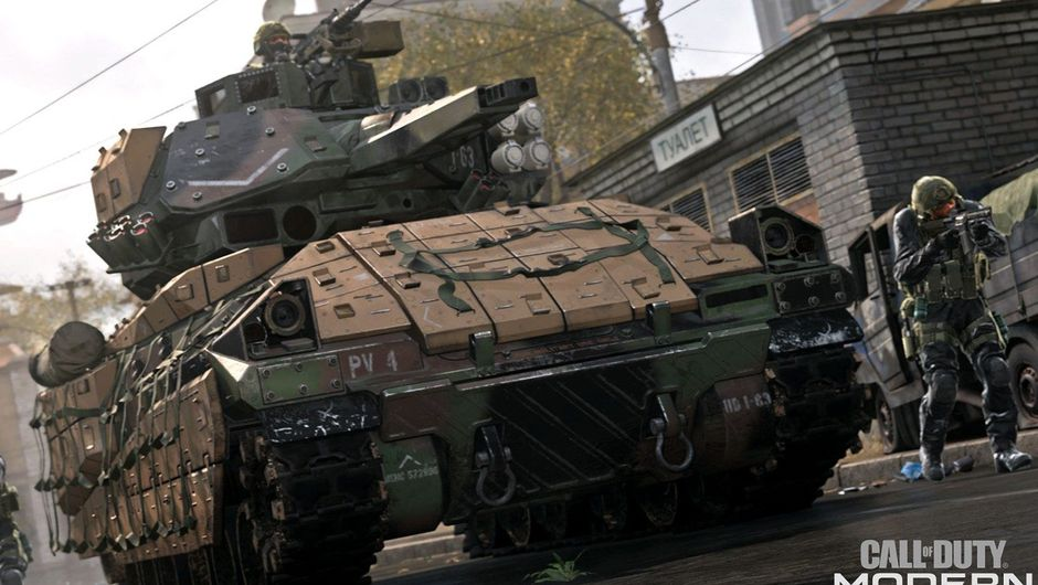 COD: Modern Warfare screenshot showing a tank and several soldiers