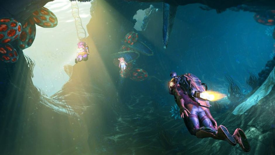 Picture showing two players diving underwater in No Man's Sky