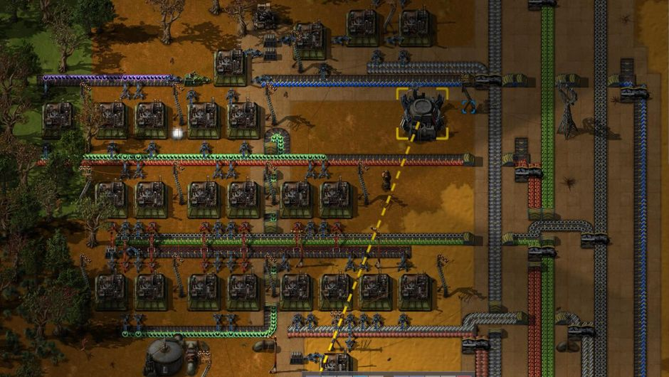 Machinery stacked in Factorio sim game