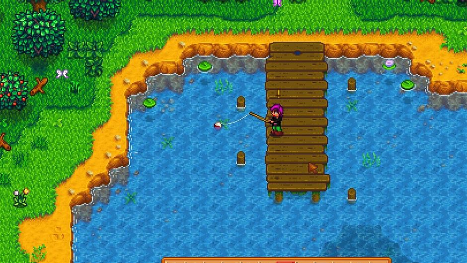 Stardew Valley screnshoot of female character fishing on a pier