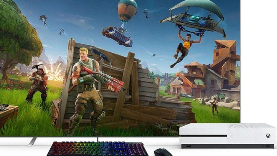 picture showing tv, keyboard and mouse and xbox one console