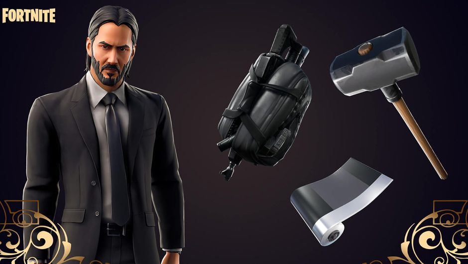 fortnite artwork showing john wick skin set
