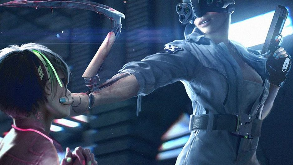 Cyberpunk 2077 screenshot showing the murderous android from the trailer actually got recruited by Psycho Squad.