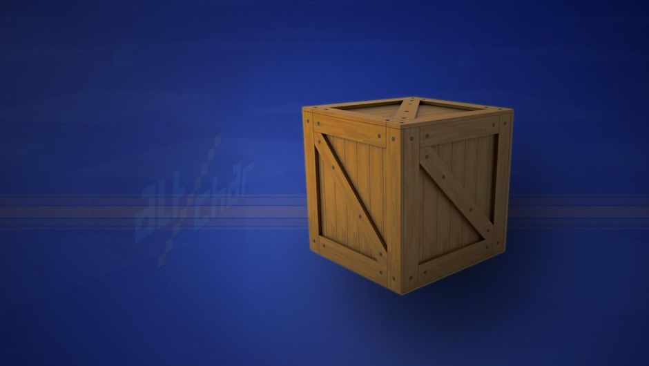 A wooden crate against a blue background with AltChar logo watermark