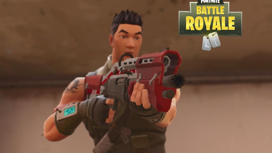 A man standing with a shotgun with Fortnite logo above