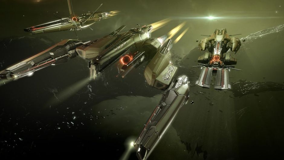 picture showing cruising space ships