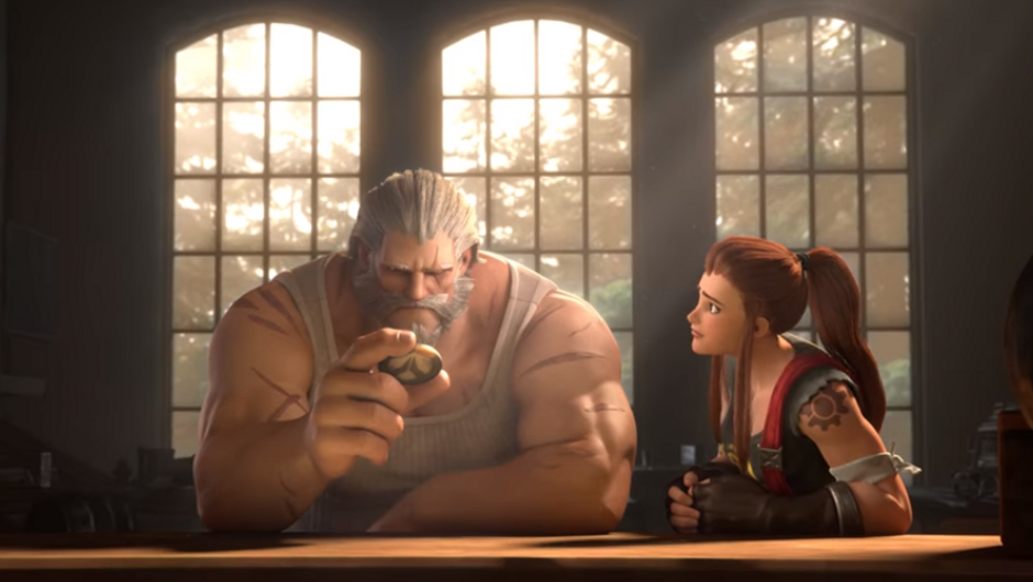 Brigitte Lindholm telling Reinhardt not to answer Overwatch's call