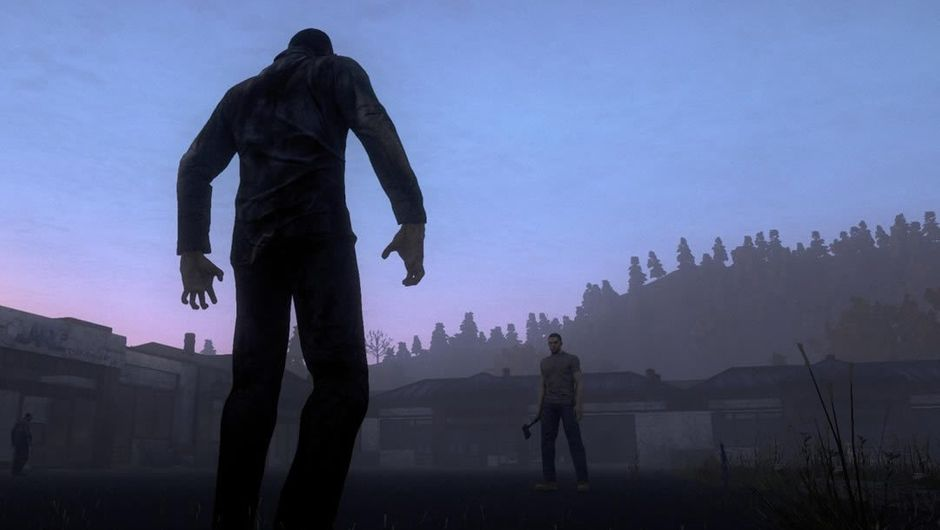 What appears like a zombie walking towards a man in Just Survive