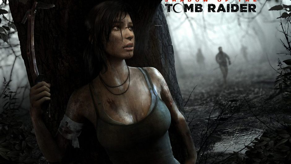 Lara Croft is hiding from approaching figures in a dark forest.