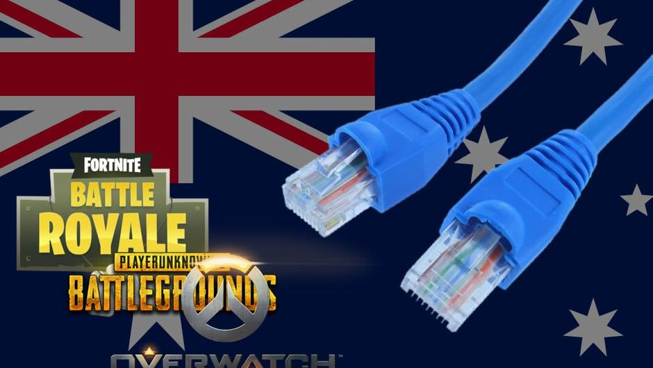 Network cable and popular game logos over Australian flag