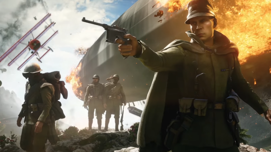 Soldier in the foreground is aiming his pistol, with three more soldiers in the background and a zeppelin going up in flames behind them.