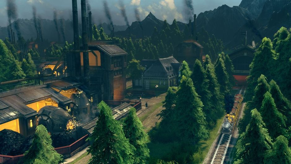Anno 1800 pre-release screenshot showing coal powered industry next to a railroad in the woods