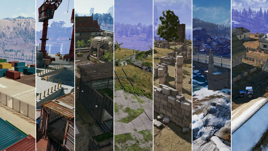 Slices of PUBG's Team Deathmatch maps