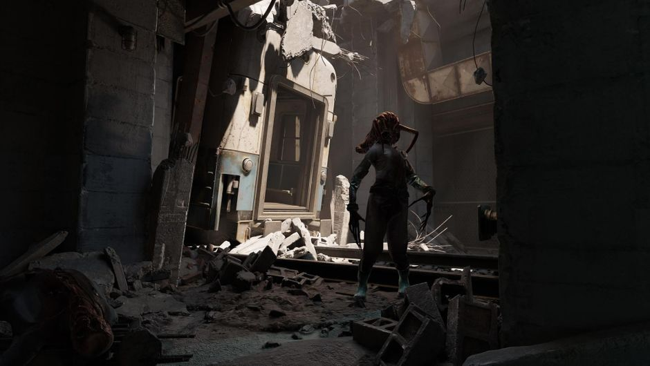 A doll in a destroyed building from Half-Life: Alyx