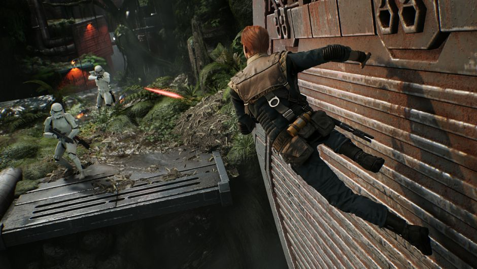 Cal wall running in combat with two Stormtroopers in Star Wars Jedi: Fallen Order