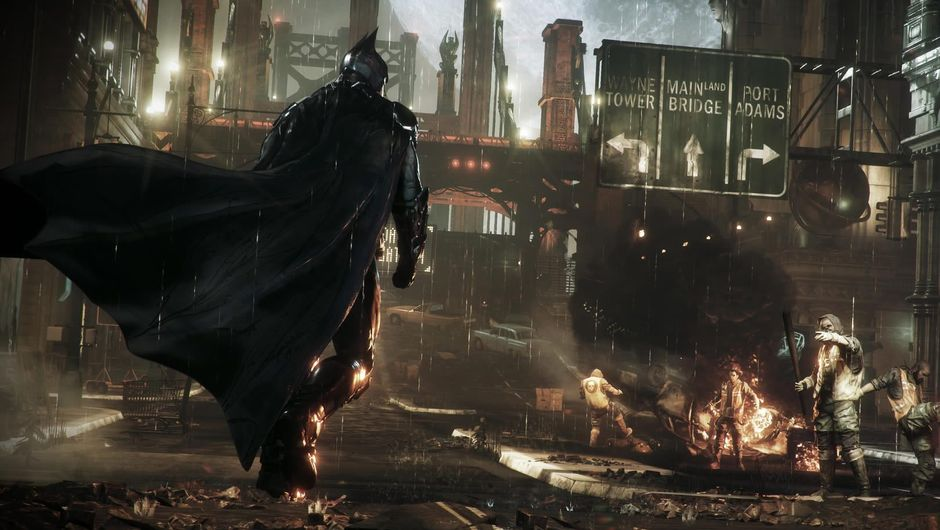 Batman looking over a devastated part of town