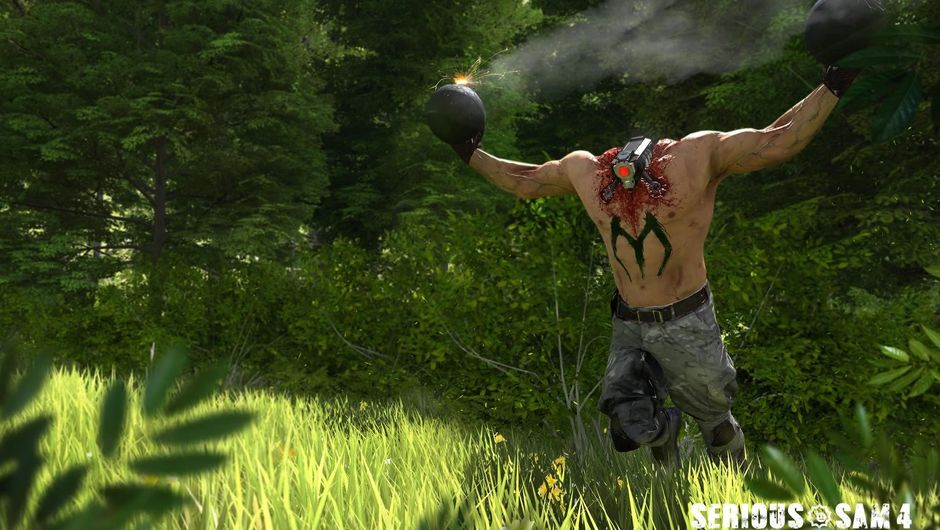 Headless man running with bombs from Serious Sam 4: Planet Badass