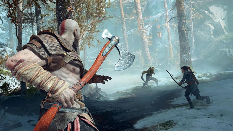 God of War game protagonist with scarce armor holding an axe
