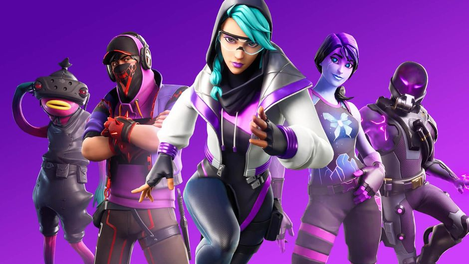 Five Fortnite characters in front of a purple backdrop