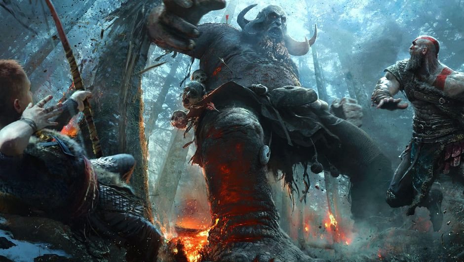 Kratos and Atreus are fighting a giant that is trying to stomp them.