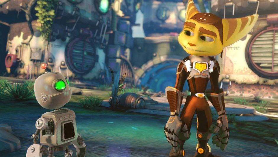 Screenshot from Ratchet and Clank showing the protagonists in the game's pretty colours.