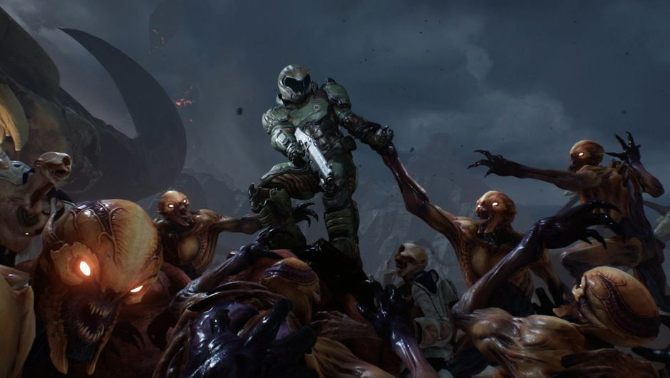 Doom slayer defending from hellish forces