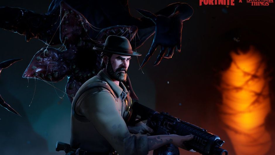 fortnite artwork showing new skins from stranger things event