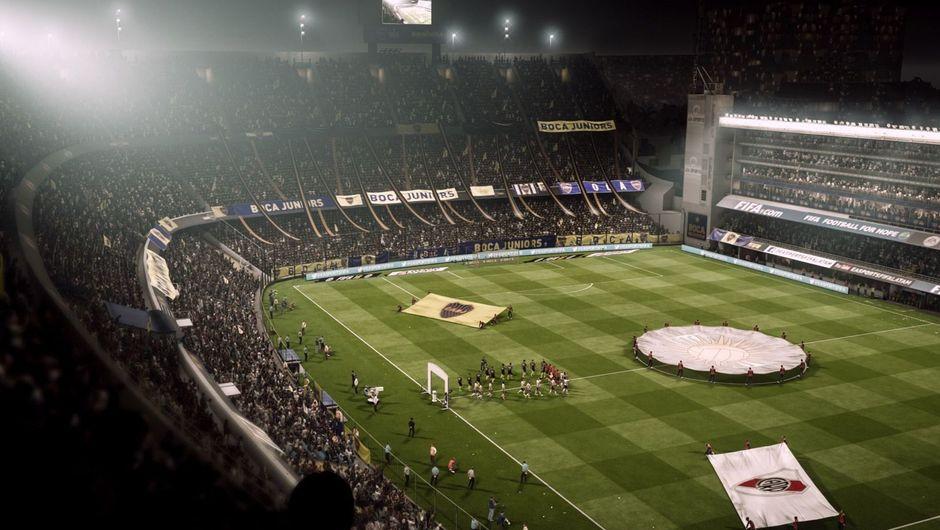 A soccer stadium in FIFA 18