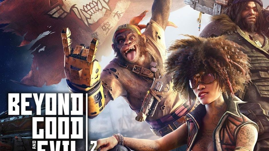 Beyond Good and Evil 2 characters posing beside the game logo