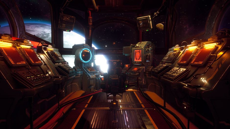 Picture of a pilot cabin of a spaceship in The Outer Worlds